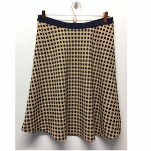 Ann Taylor | Tan Navy & White Polka Dot Skirt EUC